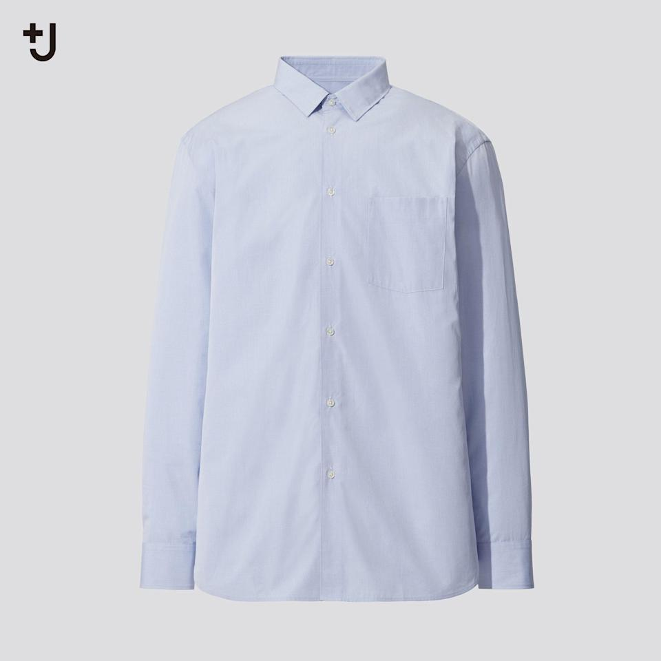 """<p><strong>Uniqlo</strong></p><p>uniqlo.com</p><p><strong>$49.90</strong></p><p><a href=""""https://go.redirectingat.com?id=74968X1596630&url=https%3A%2F%2Fwww.uniqlo.com%2Fus%2Fen%2Fmen-plusj-supima-cotton-regular-fit-long-sleeve-shirt-436109.html&sref=https%3A%2F%2Fwww.esquire.com%2Fstyle%2Fmens-fashion%2Fg34654836%2Funiqlo-j-jil-sander-collaboration-2020%2F"""" rel=""""nofollow noopener"""" target=""""_blank"""" data-ylk=""""slk:Buy"""" class=""""link rapid-noclick-resp"""">Buy</a></p><p>The perfect button-down doesn't ex—</p>"""