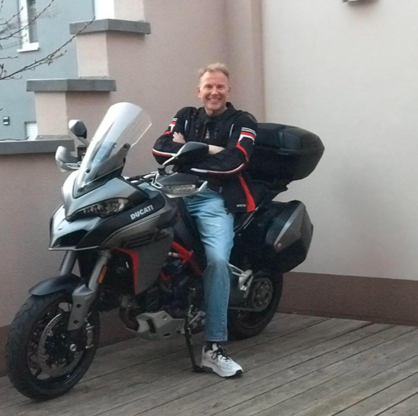 Prince Otto of Germany on a motorbike