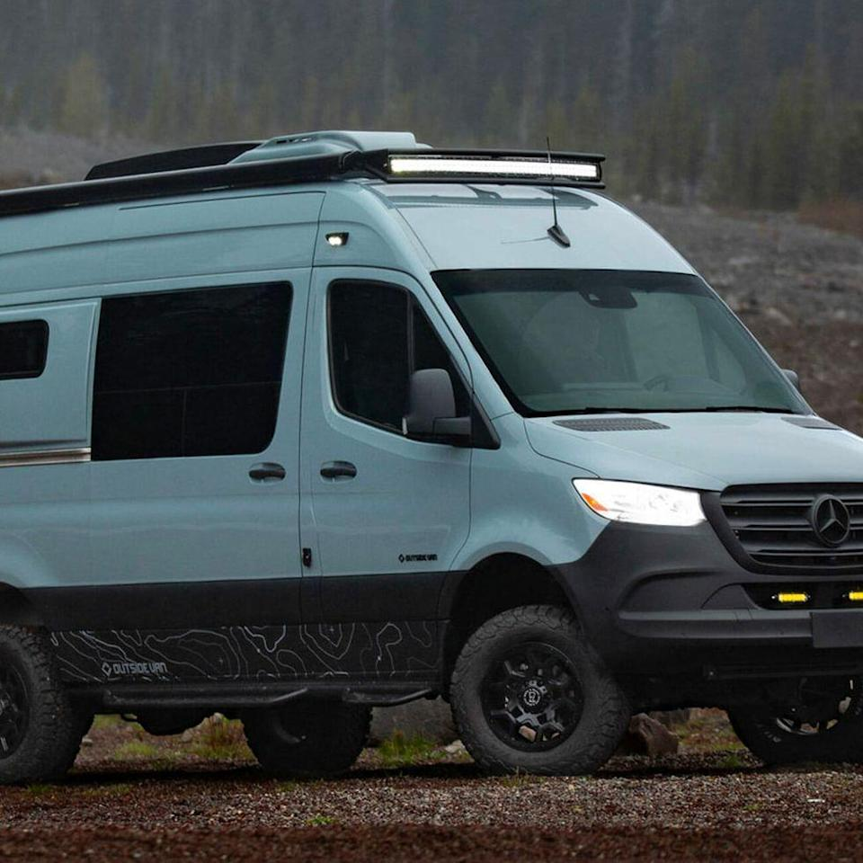 """<p>Outside Van's latest custom Mercedes-Benz Sprinter-based conversion, Mr. Blue Sky, is the perfect rig for people who want to experience the great outdoors the way you only can when camping…but also want to do a little gaming in their downtime.</p><p><a class=""""link rapid-noclick-resp"""" href=""""https://www.gearpatrol.com/cars/a738197/outside-van-camper-van-video-game-console/"""" rel=""""nofollow noopener"""" target=""""_blank"""" data-ylk=""""slk:LEARN MORE"""">LEARN MORE</a></p>"""