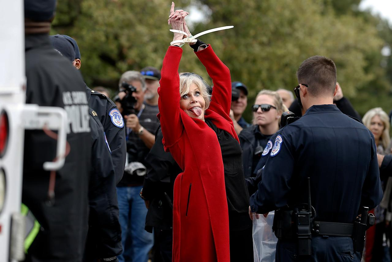 """Jane Fonda is arrested for the third week in a row (this time, with Ted Danson, not pictured) during the """"Fire Drill Friday"""" Climate Change Protest in Washington, D.C., on Friday."""