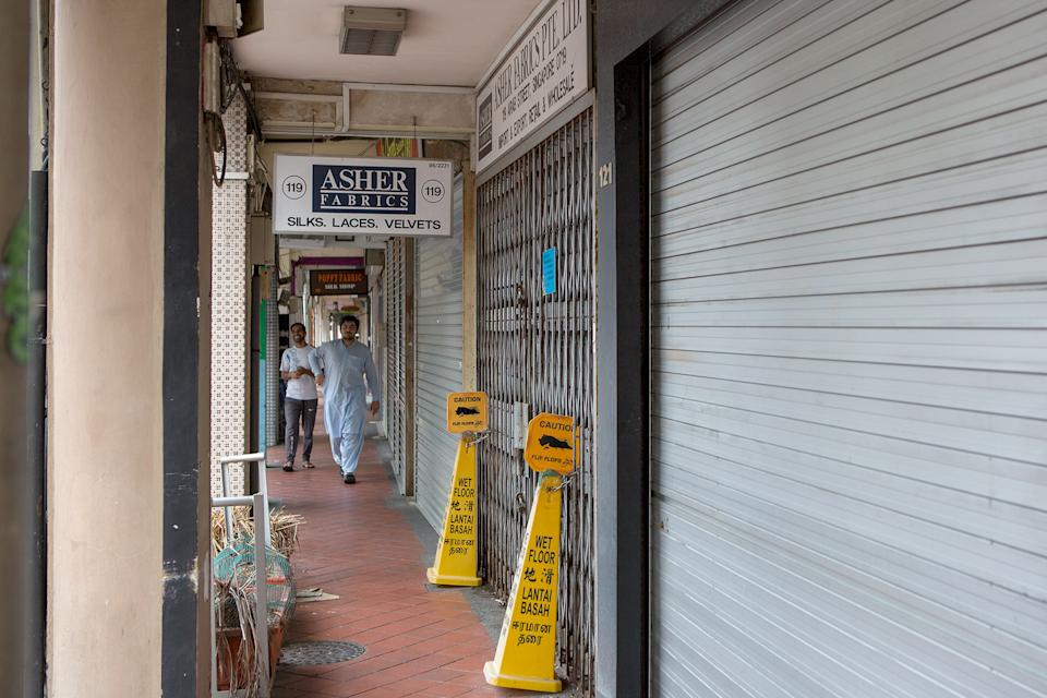 A row of closed shops seen at Arab Street on 7 April 2020, the first day of Singapore's month-long circuit breaker period. (PHOTO: Dhany Osman / Yahoo News Singapore)