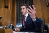Sen. Josh Hawley, R-Mo., questions Secretary of Homeland Security Alejandro Mayorkas during a Senate Homeland Security and Governmental Affairs Committee hearing, Tuesday, Sept. 21, 2021 on Capitol Hill in Washington. (Jim Lo Scalzo/Pool via AP)