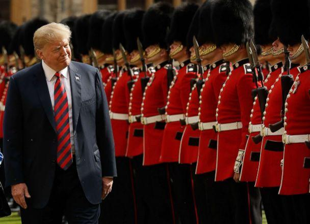 PHOTO: President Donald Trump inspects the guard of honour formed of the Coldstream Guards during a welcome ceremony at Windsor Castle on July 13, 2018 with Britain's Queen Elizabeth II on the second day of Trump's U.K. visit. (Marr Dunham/AFP/Getty Images)