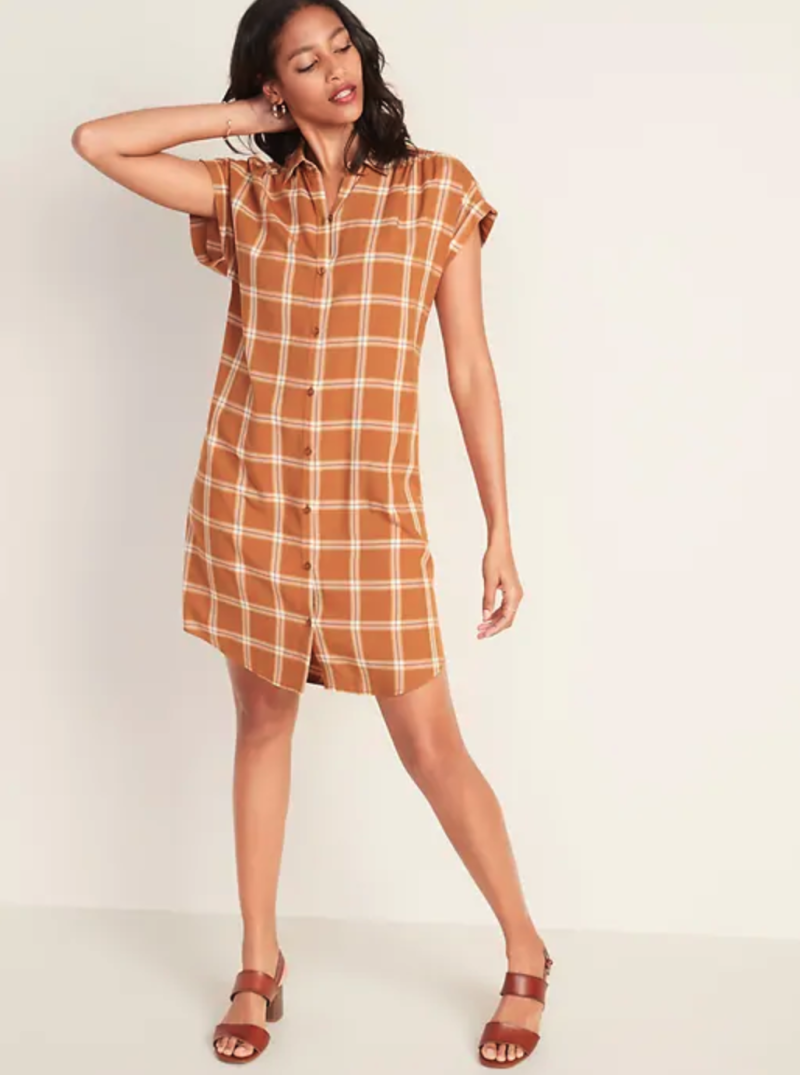 Plaid Shirred Shirt Dress. (Photo: Old Navy)