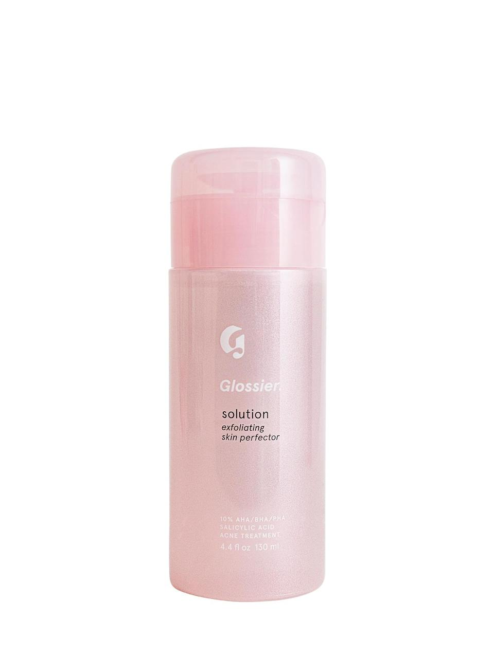 """<h3>Solution</h3> <br>Nobody solves a problem like the <a href=""""https://www.refinery29.com/en-us/2018/01/188001/glossier-solution-review"""" rel=""""nofollow noopener"""" target=""""_blank"""" data-ylk=""""slk:Solution"""" class=""""link rapid-noclick-resp"""">Solution</a> — provided, of course, that problem involves dullness, clogged pores, dark spots, or any combination thereof. This gentle exfoliating liquid is the brand's most ambitious skin-care formulation yet, a wonder product that promises brighter, smoother, more balanced skin with regular use. The combination of AHAs, BHAs, and PHAs, totaling a 10% concentration, isn't as potent as some other similar products on the market, which isn't necessarily a bad thing. In fact, it's a solid choice for sensitive skin, a pretty pink gateway drug into the world of acids.<br><br><strong>Glossier</strong> Solution, $, available at <a href=""""https://glossier.79ic8e.net/o6kxg"""" rel=""""nofollow noopener"""" target=""""_blank"""" data-ylk=""""slk:Glossier"""" class=""""link rapid-noclick-resp"""">Glossier</a><br>"""