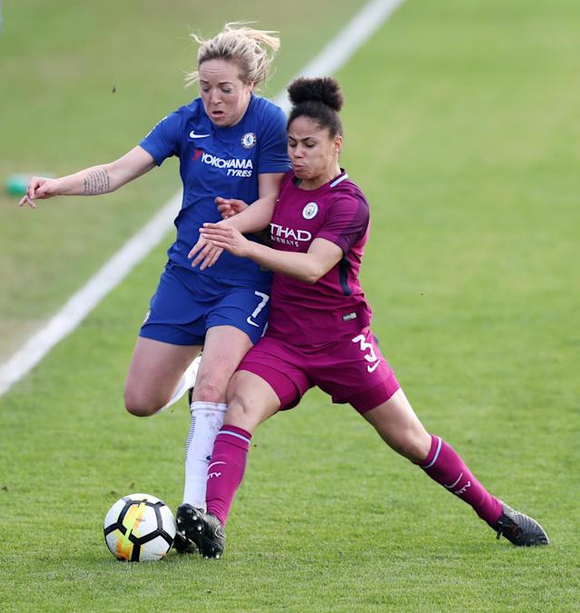 Soccer Football - Women's FA Cup Semi Final - Chelsea vs Manchester City - The Cherry Red Records Stadium, London, Britain - April 15, 2018 Chelsea's Gemma Davison in action with Manchester City's Demi Stokes Action Images/Peter Cziborra