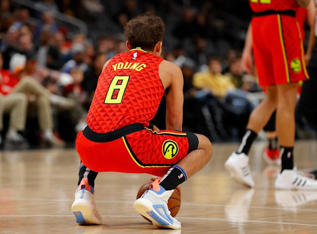 "<a class=""link rapid-noclick-resp"" href=""/nba/players/6016/"" data-ylk=""slk:Trae Young"">Trae Young</a> wore No. 8 instead of his usual No. 11 in honor of Kobe Bryant during the Hawks' game Sunday. (Photo by Kevin C. Cox/Getty Images)"