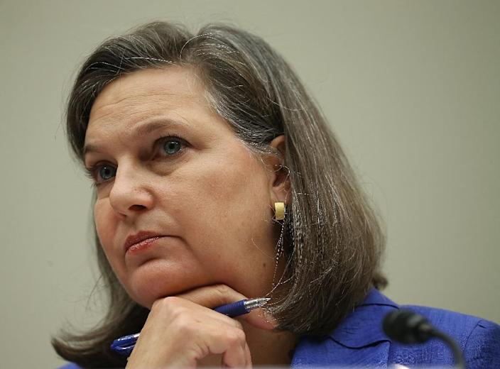 Assistant Secretary of State for European and Eurasian Affairs ,Victoria Nuland, listens to questions during a House Foreign Affairs Committee hearing on November 4, 2015 (AFP Photo/Mark Wilson)