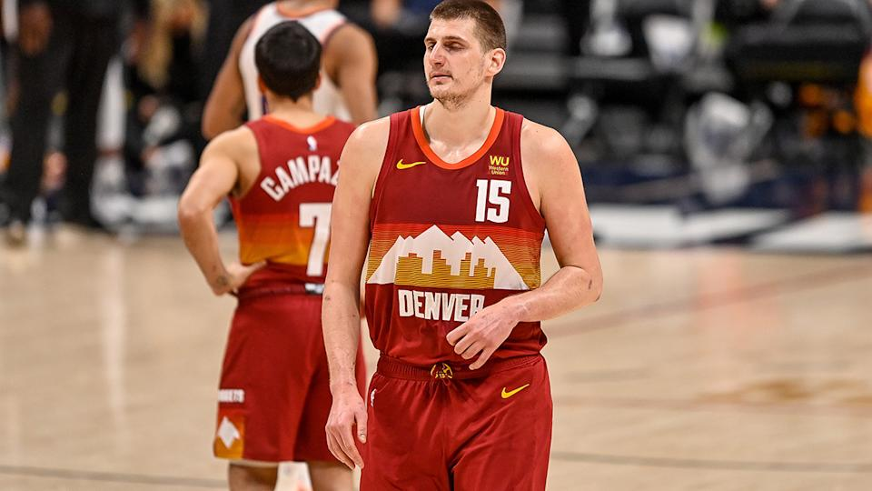 Nikola Jokic was dejected after being thrown out of game four of the Western Conference semi-finals, with the Denver Nuggets eliminated by the Phoenix Suns soon after. (Photo by Dustin Bradford/Getty Images)