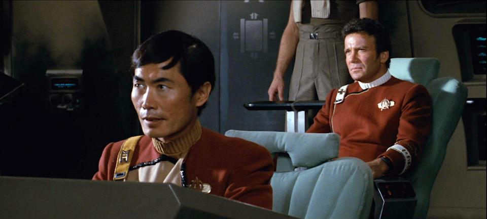 """LOS ANGELES - JUNE 4: From  left: George Takei as Commander Hikaru Sul and William Shatner as Admiral James T. Kirk in the movie, """"Star Trek II: The Wrath of Khan."""" Release date, June 4, 1982. Image is a screen grab. (Photo by CBS via Getty Images)"""