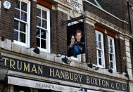 A sign depicting the image of Britain's Prince Harry and his wife Meghan, hangs outside the Duke of Sussex pub near Waterloo station, London, Tuesday March 9, 2021. Prince Harry and Meghan's explosive TV interview has divided people around the world, rocking an institution that is struggling to modernize with claims of racism and callousness toward a woman struggling with suicidal thoughts. (AP Photo/Frank Augstein)