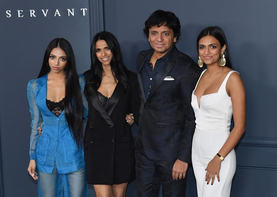 """US filmmaker M. Night Shyamalan, his wife Bhavna Vaswani (2L) and guests arrive for Apple TV+ premiere of """"Servant"""" at BAM Howard Gilman Opera House in Brooklyn, New York on November 19, 2019. (Photo by ANGELA WEISS / AFP) (Photo by ANGELA WEISS/AFP via Getty Images)"""