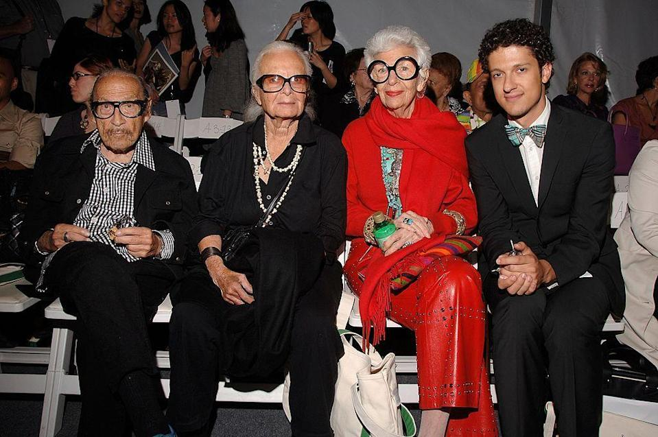 <p>The good 'ol days with Iris Apfel all in red. <i>(Andrew H. Walker/Getty Images for Joanna Mastroianni)</i></p>