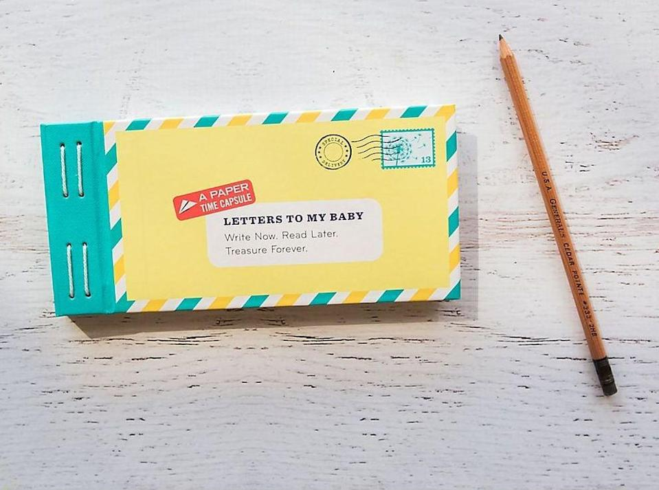 <p>An endearing gift, <span>Letters To My Baby</span> ($15) is a heartfelt keepsake she can use to track memories and thoughts. </p>