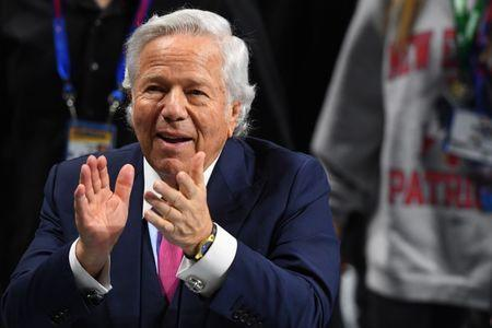 FILE PHOTO: Feb 3, 2019; Atlanta, GA, USA; New England Patriots owner Robert Kraft reacts before Super Bowl LIII between the New England Patriots and the Los Angeles Rams at Mercedes-Benz Stadium. Mandatory Credit: John David Mercer-USA TODAY Sports - 12104561