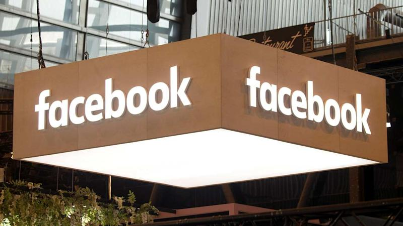 The logo of Facebook is pictured during the Viva Tech start-up and technology summit in Paris. Reuters