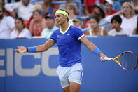 Rafael Nadal, of Spain, gestures during a match against Lloyd Harris, of South Africa, at the Citi Open tennis tournament, Thursday, Aug. 5, 2021, in Washington. (AP Photo/Nick Wass)
