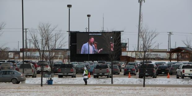 A drive-in service at Springs Church on Lagimodiere Boulevard in November, held in contravention of provincial public health orders.