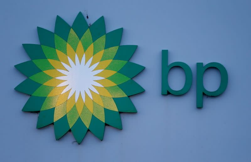 FILE PHOTO: A sign is seen outside BP's North Sea Headquarters in Aberdeen