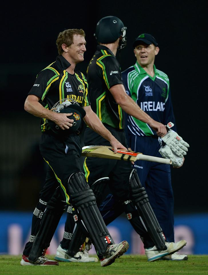 COLOMBO, SRI LANKA - SEPTEMBER 19:  Australian captain George Bailey leaves the field after beaing Ireland during ICC World Twenty20 2012: Group B match between Australia and Ireland at R. Premadasa Stadium on September 19, 2012 in Colombo, Sri Lanka.  (Photo by Gareth Copley/Getty Images)