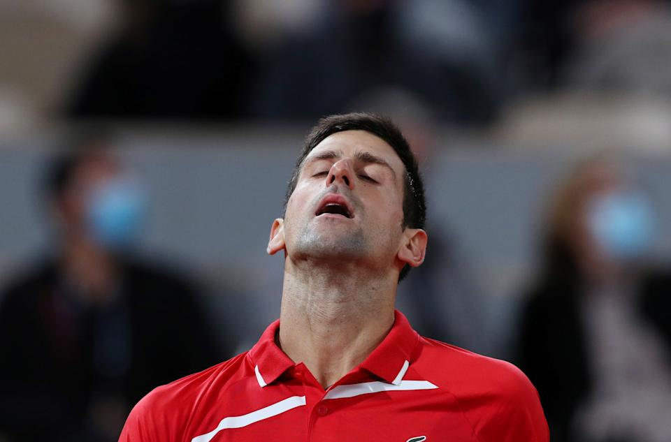 PARIS, Oct. 11, 2020 -- Novak Djokovic of Serbia reacts during the men's singles final match against Rafael Nadal of Spain at the French Open tennis tournament 2020 at Roland Garros in Paris, France, Oct. 11, 2020. (Photo by Gao Jing/Xinhua via Getty) (Xinhua/Gao Jing via Getty Images)