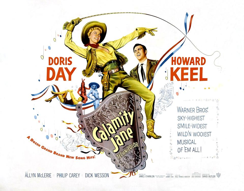 Calamity Jane, poster, Doris Day, Howard Keel, 1953. (Photo by LMPC via Getty Images)