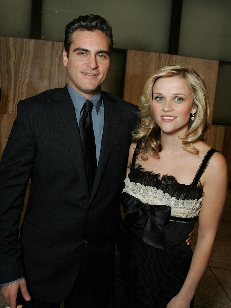 "<p>Seen here with co-star Joaquin Phoenix at the Los Angeles premiere, Reese would go on to win the Best Actress Oscar for her portrayal of June Carter Cash. In her <a href=""http://news.bbc.co.uk/2/hi/entertainment/4777596.stm"" rel=""nofollow noopener"" target=""_blank"" data-ylk=""slk:acceptance speech"" class=""link rapid-noclick-resp"">acceptance speech</a>, Reese thanked the real Carter Cash, saying, ""People used to ask June how she was doing, and she used to say <span>—</span> 'I'm just trying to matter'. And I know what she means. You know, I'm just trying to matter, and live a good life and make work that means something to somebody.""<br>(Photo: Getty Images) </p>"