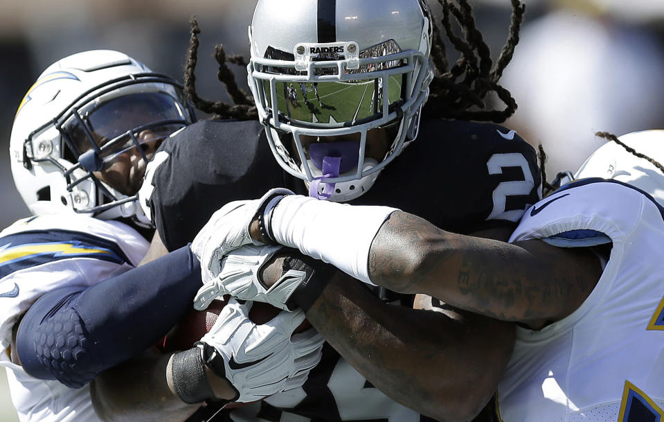 Marshawn Lynch will miss at least eight weeks after being placed on IR. (AP Photo/Ben Margot)