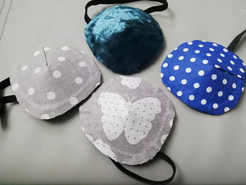 Toni makes eye patches for other facial cancer sufferers and has shipped them around the world (Bling-k Of An Eye/Toni Crews)