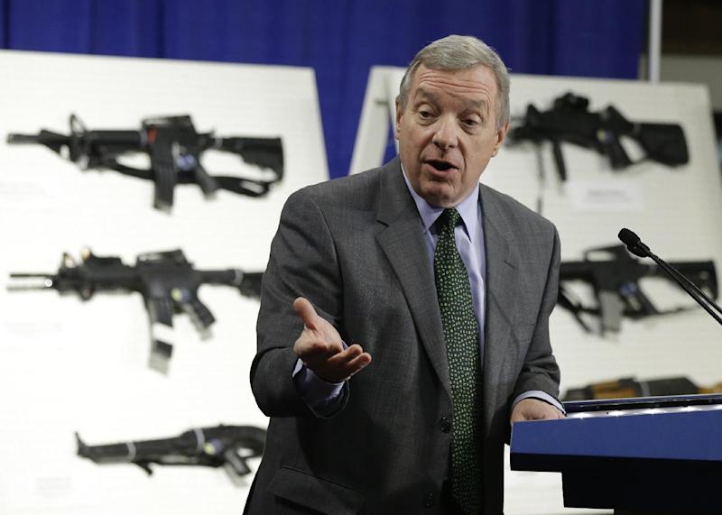Sen. Dick Durbin, D-Ill., speaks during a news conference with a coalition of members of Congress, mayors, law enforcement officers, gun safety organizations and other groups on Capitol Hill in Washington to introduce legislation on assault weapons and high-capacity ammunition feeding devices, Thursday, Jan. 24, 2013.   (AP Photo/Manuel Balce Ceneta)