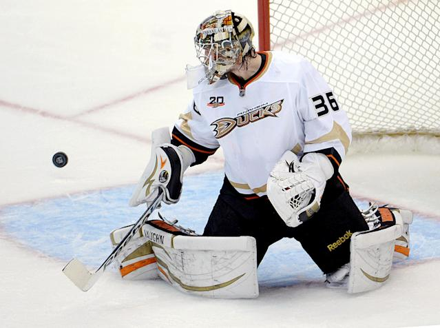 John Gibson calm, confident in Game 4 shutout, playoff debut for Ducks