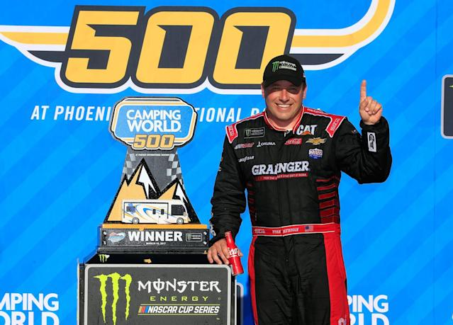 "<a class=""link rapid-noclick-resp"" href=""/nascar/sprint/drivers/176/"" data-ylk=""slk:Ryan Newman"">Ryan Newman</a> won for the first time since 2013 on Sunday. (Getty)"