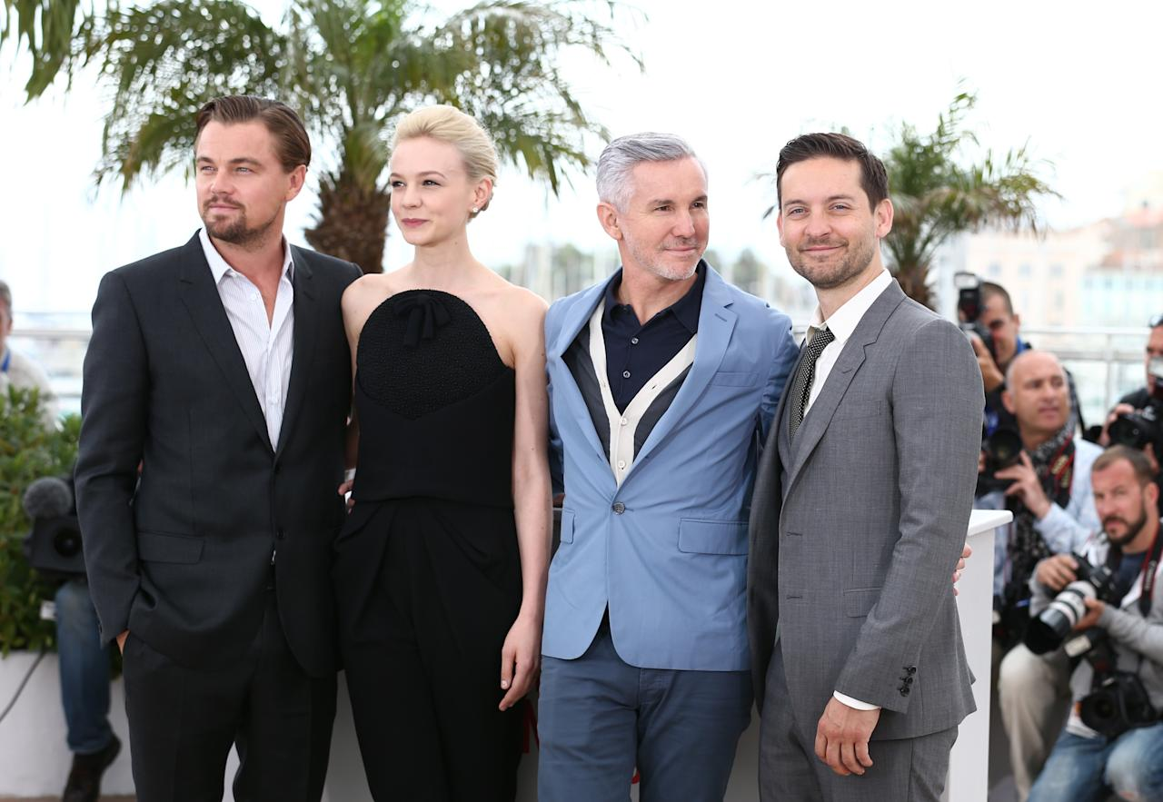 CANNES, FRANCE - MAY 15:  Actor Leonardo DiCaprio, actress Carey Mulligan,  Director Baz Luhrmann and actor Tobey Maguire attend 'The Great Gatsby' photocall during the 66th Annual Cannes Film Festival at the Palais des Festivals on May 15, 2013 in Cannes, France.  (Photo by Andreas Rentz/Getty Images)