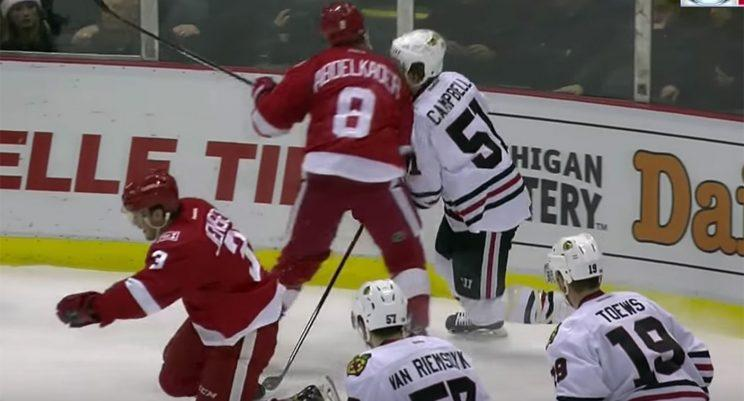 Justin Abdelkader lays into Chicago's Brian Campbell. (Sportsnet/YouTube)