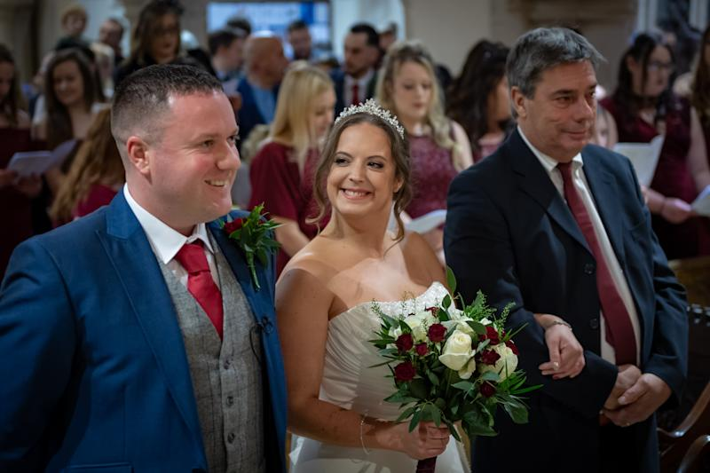 Henry Matthews with Hannah Colishaw on their wedding day. [Photo: SWNS]