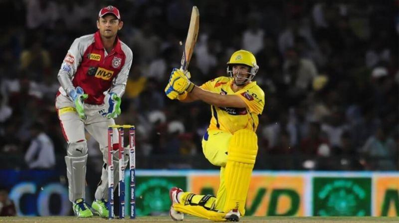 Michael Hussey on his way to a century against KXIP in 2008.