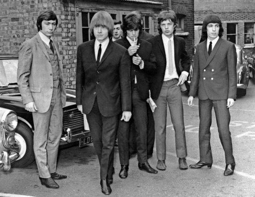 The Rolling Stones, (L-R) Charlie Watts, Brian Jones, Keith Richards, Mick Jagger and Bill Wyman in 1965. Most London shoppers rush by 165 Oxford Street without a second glance -- but it was there 50 years ago that The Rolling Stones played their first gig and changed the landscape of pop music forever