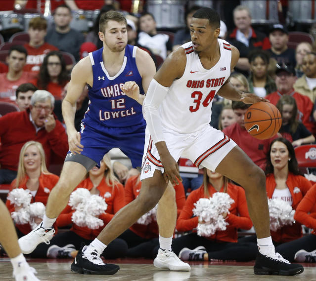 Ohio State's Kaleb Wesson, right, posts up against UMass-Lowell's Josh Gantz during the first half of an NCAA college basketball game Sunday, Nov. 10, 2019, in Columbus, Ohio. (AP Photo/Jay LaPrete)