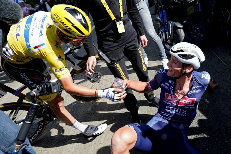 Day to remember: Mathieu van der Poel (right) celebrates his win on the Tour de France second stage with Julian Alaphilippe