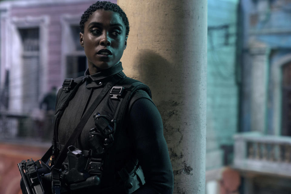 """This image released by Metro Goldwyn Mayer Pictures shows Lashana Lynch in a scene from """"No Time To Die."""" (Nicola Dove/Metro Goldwyn Mayer Pictures via AP)"""