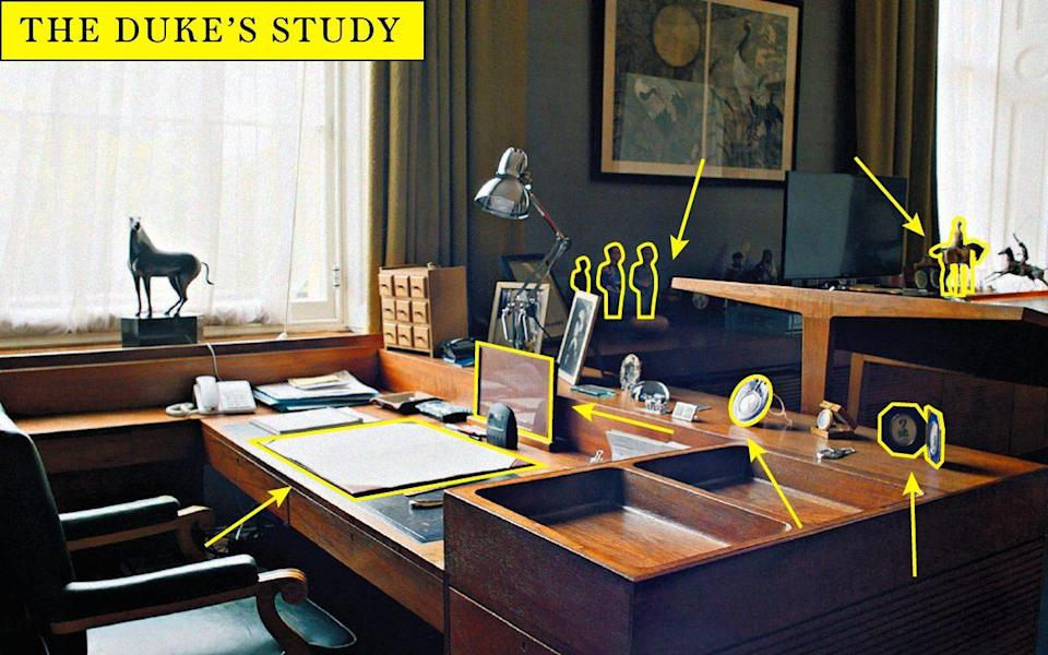 The Duke's desk is a practical affair with a few touching items carrying memories of his marriage