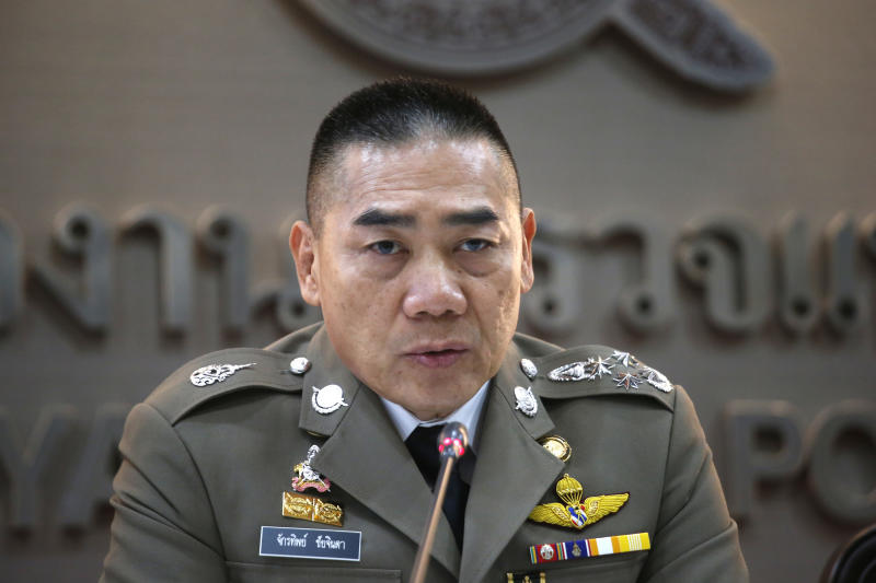 Thailand's National Police Chief Chakthip Chaijinda talks during a press conference Tuesday, Oct. 16, 2018, in Bangkok, Thailand. Police in Thailand say they have dismissed a British tourist's claim that she was raped on a Thai resort island after their investigation revealed no supporting evidence. (AP Photo/Sakchai Lalit)
