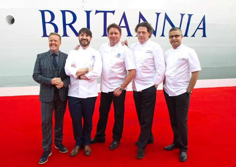 Celebrity chefs - Eric Lanlard, James Martin, Marco Pierre White and Atul Kochhar attending the naming ceremony for the P&O Cruises' new liner, Britannia at Ocean Cruise Terminal in Southampton. (Photo by Zak Hussein/Corbis via Getty Images)
