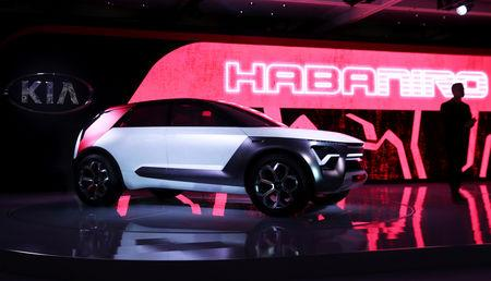 FILE PHOTO: FILE PHOTO: The Kia HabaNiro electric concept car is revealed at the 2019 New York International Auto Show in New York City, New York, U.S, April 17, 2019. REUTERS/Shannon Stapleton/File Photo