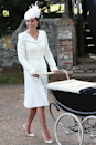 <p>Swap Diana's black pumps for a white pair and make the hat a fancy fascinator et voilà, it's Kate's coat dress worn to the Christening of Princess Charlotte in July 2015.</p>