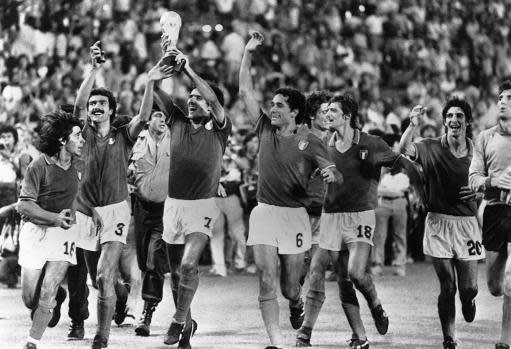 FILE - In this July 11, 1982 file photo, Italian players celebrate after defeating West Germany 3-1 in the World Cup soccer final in Madrid, Spain. The 21st World Cup begins on Thursday, June 14, 2018, when host Russia takes on Saudi Arabia. (AP Photo/File)