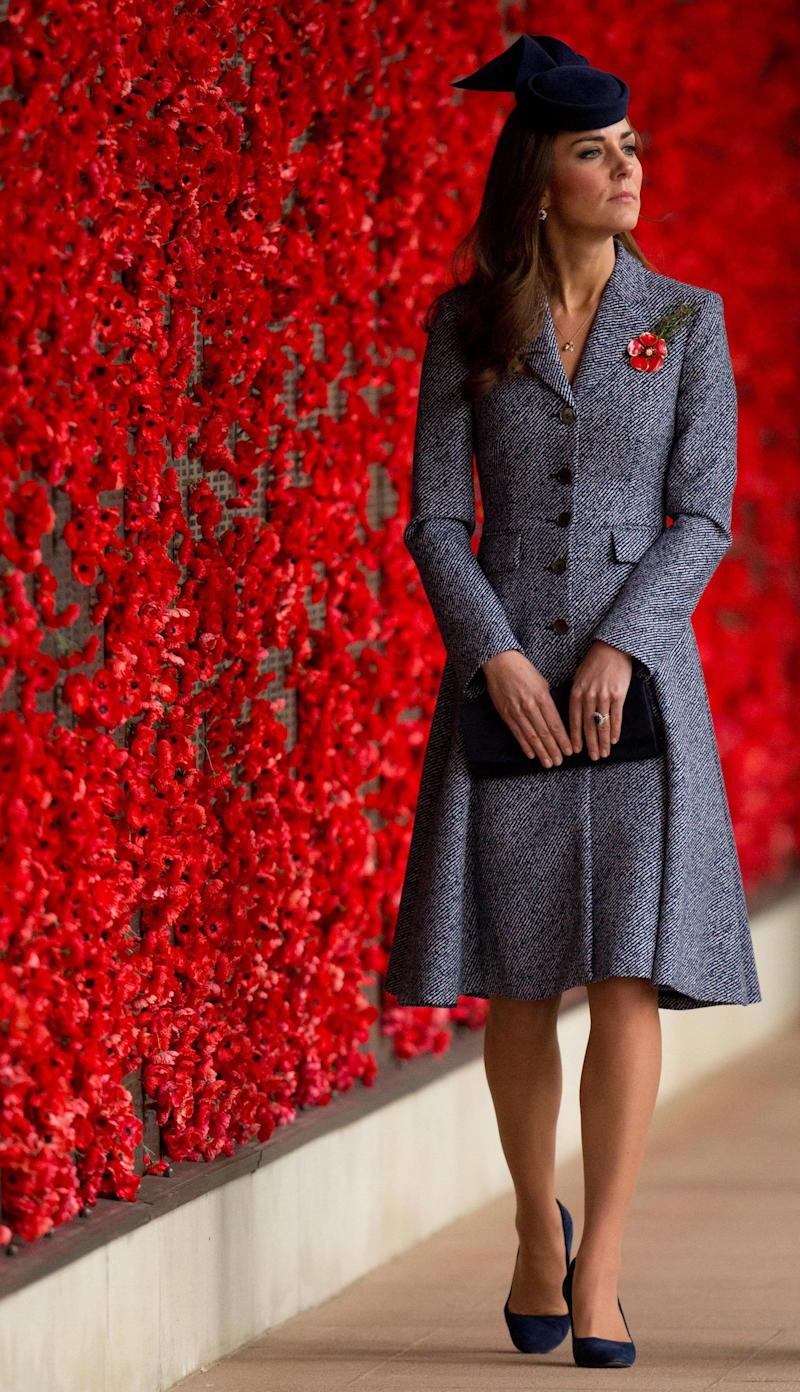 The Duchess of Cambridge sported a Michael Kors coat dress while visiting the Australian War Memorial in Canberra, Australia on April 25, 2014.
