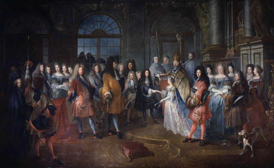 """<p>Weddings during the 17th century were seen as a celebration where <a href=""""https://www.historyextra.com/period/stuart/fashion-history-what-did-women-wear-past-trends-outfits-clothes-design/"""" rel=""""nofollow noopener"""" target=""""_blank"""" data-ylk=""""slk:extravagance was expected"""" class=""""link rapid-noclick-resp"""">extravagance was expected</a>. The bride would wear her best dress and certain colors were reserved for her big day, <a href=""""http://www.avictorian.com/weddingattire.html"""" rel=""""nofollow noopener"""" target=""""_blank"""" data-ylk=""""slk:depending on her age and circumstance"""" class=""""link rapid-noclick-resp"""">depending on her age and circumstance</a>. Green was worn by teenage brides, brown for brides in their mid-20s, and black for older brides. Bridesmaids would follow suit.</p>"""