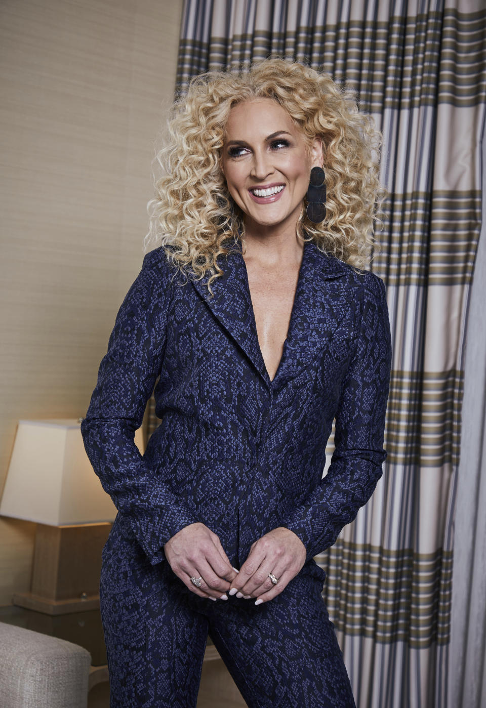 """FILE - This Jan. 13, 2020, photo shows Kimberly Schlapman, a member of the country group Little Big Town, posing for a portrait in New York to promote the band's new album """"Nightfall."""" Schlapman turns 52 on Oct. 15. (Photo by Matt Licari/Invision/AP, File)"""