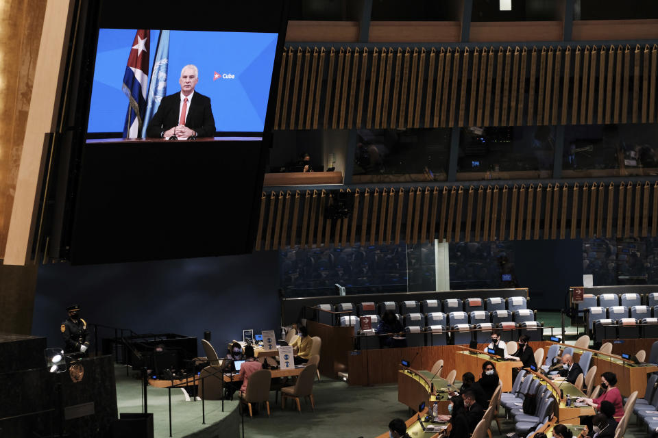 The President of Cuba, Miguel Mario Díaz-Canel Bermúdez speaks via video link at the 76th Session of the U.N. General Assembly at United Nations headquarters in New York, on Thursday, Sept. 23, 2021. (Spencer Platt/Pool Photo via AP)